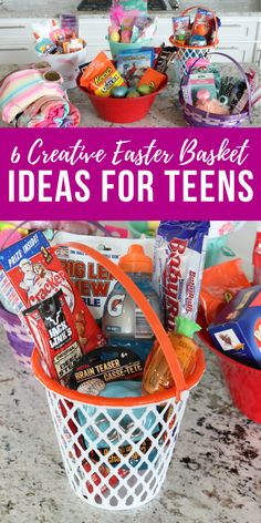 6 Creative Easter Basket Ideas for Teens from the Dollar Tree & Walmart! These Cheap Easter Basket Ideas are perfect for Teen Girls, Teen Boys and Adults! Easter gifts 6 Brilliant Easter Basket Ideas for Teens from Walmart & Dollar Tree!