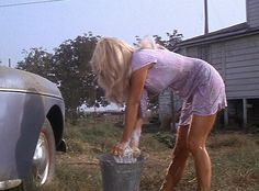 "Joy Harmon's famous car wash scene in Cool Hand Luke:""she don't know what she's doing!"".. "" she knows exactly what she's doing.""   Classic."