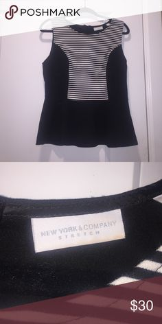 SALE TODAY!!! Peplum shirt Black and white peplum top New York & Company Tops Tank Tops