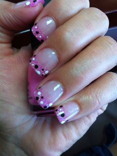 Powdered Gel Nails - glitter pink powder with black and white polka dots. Love these!! Super cute and getting TONS of compliments on them!!  VJ Nails in Calgary, Alberta