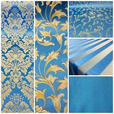"Turquoise/Gold Damask Jacquard Brocade Fabric 118"" By the Yard Many Design"