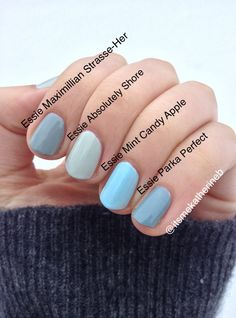 Essie nail swatches in blues. Maximillian Strasse-Her, Absolutely Shore, Mint Candy Apple, and Perfect Parka.