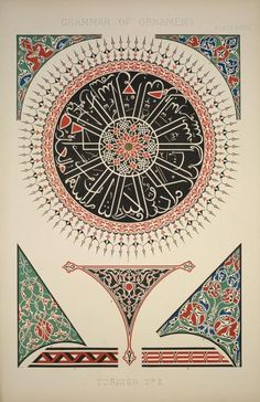 Painted ornaments from the Mosque of Soliman in Constantinople - Owen Jones Painted Ornaments, Ornaments Design, Art Nouveau, Owen Jones, Arabic Pattern, Turkish Art, Thing 1, Islamic Calligraphy, Free Prints