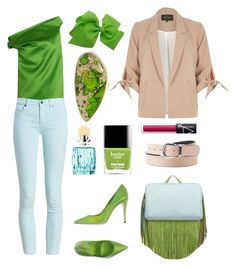 """I want spring"" by confusioninme ❤ liked on Polyvore featuring Balenciaga, Barbour, River Island, Giamba, The Volon, Charlotte Russe, Charles Albert, Miu Miu, greenery and pantone2017"
