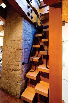 Love these stairs - space efficient too -  To connect with us, and our community of people from Australia and around the world, learning how to live large in small places, visit us at www.Facebook.com/TinyHousesAustralia