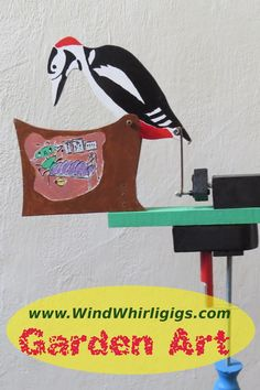 Hand painted, folk art style wind-driven whirligig is a model of a сomic scene - a woodpecker disturbs a bug in a stump. Wind-actuated propeller causes the figures to appear to run. It is made of several types of wood. This colorful whirligig is for those, who like funny art objects in their garden, who love something that attracts attention of public of every age. Wood Projects For Beginners, Scrap Wood Projects, Baby Sewing Projects, Scroll Saw Patterns Free, Wood Patterns, Router Projects, Woodworking Projects, Art Education Projects, Wind Spinners
