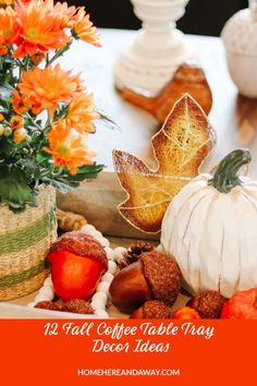 It's Fall, and I'm sharing 12 Fall Coffee Table Tray Decor Ideas that I hope will inspire you in your fall decorating. #falldecor #coffeetablestyling Coffee Table Tray, Coffee Table Styling, Coffee Table Design, Metal Pumpkins, Glass Pumpkins, Small Wooden Tray, Decorative Spheres, Pumpkin Flower, Tray Decor