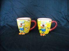 The Da Vinci Collection Zoo Buds Coffee Cup Mugs Cat w/ Dancing Feet Set of 2