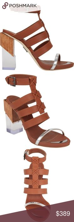 MAIYET Multi-Strap Block-Heel Lucite Sandals 40 Brand new in original box. Never worn. No flaws. Maiyet tan and metallic silver calfskin multi-strap sandals detailed with wooden and lucite block heel. Maiyet Shoes Heels