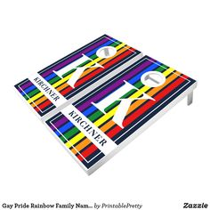 Gay Pride Rainbow Family Name Retro Stripes Navy Cornhole Set Custom Cornhole Boards, Cornhole Set, Rainbow Family, Rainbow Pride, Fun Party Games, Corn Hole Game, Orange Bag, Epic Games, School Colors