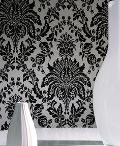 black and white damask wallpaper: http://www.wallpaperandborders.co.uk/wallpaper-shop/#