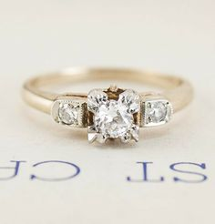 WWII Era Two-Tone Engagement Ring with Decorative Triple Prongs, $900.00
