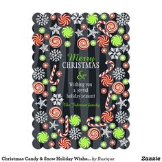 Christmas Candy & Snow Holiday Wishes DIY Custom Card #Christmas #Candy #Snow #Holiday #DIY #Custom #Card #crafts #cards