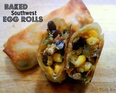 Yumm Yumm, going to make these! Baked Southwest Egg Rolls Omit chicken, use tofu. Can also tweak to make them Asian egg rolls Finger Food Appetizers, Appetizer Recipes, Asian Recipes, Mexican Food Recipes, Southwest Egg Rolls, Healthy Snacks, Healthy Recipes, Healthy Eating, Great Recipes