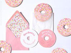Donut Party, Donut Invitation, Donut Birthday Party Invite, Die Cut, Pink Donut Sprinkles, Donut Bridal Shower, Donut Baby Shower, Doughnut