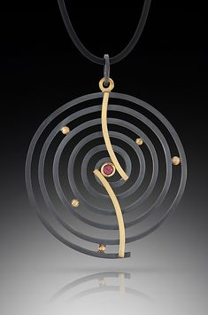 Curved+Spiral+Pendant by Ilene+Schwartz: Gold,+Silver,+&+Stone+Necklace available at www.artfulhome.com