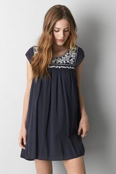 AEO Embroidered Shift Dress, Black | American Eagle Outfitters
