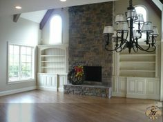 Windows above Fireplace | Fireplace with bookshelves and windows above - would like windows to ...