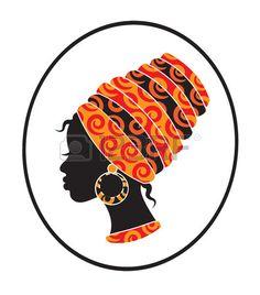Enfrentan las ni as africanas con un pa uelo en la cabeza de perfil Foto de archivo