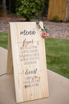 Wedding Food You've spent tons of time designing the dinner menu, so why not show it off? - You've spent tons of time designing the dinner menu, so why not show it off? Wedding Reception Food, Wedding Menu Cards, Wedding Signage, Wedding Table, Diy Wedding, Trendy Wedding, Casual Wedding, Wedding Catering, Wedding Foods