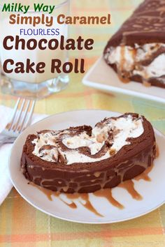 Milky Way Simply Caramel Flourless Chocolate Cake Roll - spongy chocolate cake…