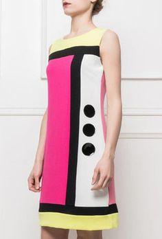 robe année 60, style courrèges, trapèze, multicolore, rétro