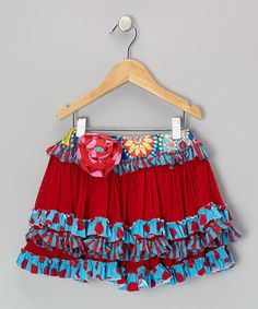 Take a look at this Turquoise & Red Kenzington Skirt - Infant, Toddler & Girls by Mustard Pie on #zulily today!