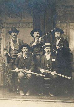 "(Clockwise from left, back row): Bill Smith, Bill Ellis, Paden Tolbert, Gideon S. ""Cap"" White, and Charles Copeland."