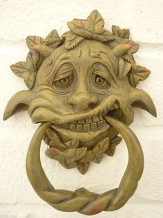 Wimsical Merry Greenman and Ring, Gothic-style Door Knocker - Resin