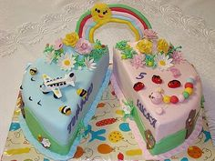 Twins birthday cake castle and cars Twin birthday themes Twin