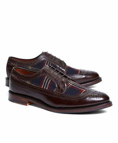 Leather and Wool Brogues with Signature Tartan - Brooks Brothers
