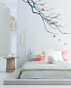 décoration japonais dans la chambre à coucher, déco murale