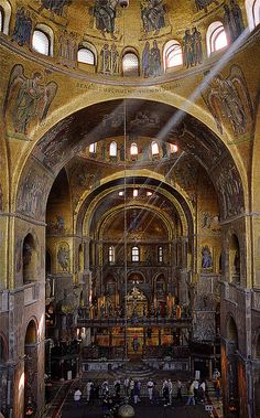 San Marco Cathedral, or St. Mark's Basilica, Venice, Italy.  Construction of the building first began in 828.  by pedro lastra