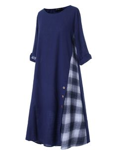 O-NEWE Casual Patchwork Button High Low Hem Plus Size Dress Online - NewChic - Детали,фасоны,образы,идеи - Source by fashion muslim Women's A Line Dresses, Simple Dresses, Plus Size Maxi Dresses, Casual Dresses, Fall Dresses, Pretty Dresses, Abaya Mode, Mode Hijab, Hijab Stile