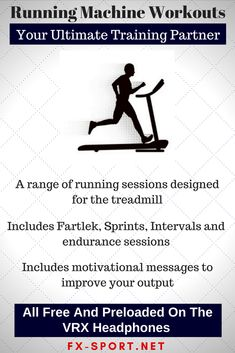 #Treadmill based sessions to meet all your training needs. All #workouts can be amended or you can create your own, in your own words. What motivates you? #SportHeadphones #FitnessTech