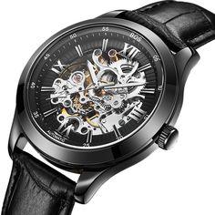 BOS Men's Automatic Mechanical Luminous Pointer Skeleton Watch Black Dial Calfskin Band 9008