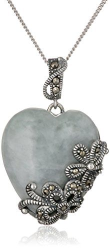 Sterling Silver Marcasite Green Jade Heart Curb Chain Pendant Necklace 18 *** Continue to the product at the image link.