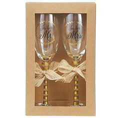 Mud Pie Wedding Champagne Glasses Set Gold >>> You can find more details by visiting the image link.-It is an affiliate link to Amazon.