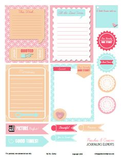 FREE printable pdf download with warm pastel journaling elements and cards for your project life or pocket scrapbooking use. Free for personal use only.