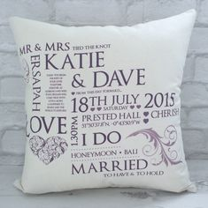 Personalised Wedding Cushion, includes all the details from the special day. Also great as a Cotton Anniversary Gift.