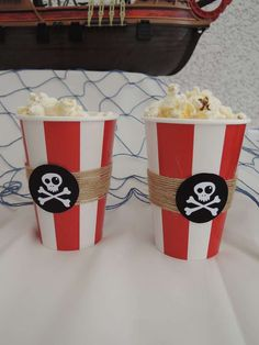 Make these cool pirate popcorn cups with our popcorn cups http://www.discountpartysupplies.com.au/popcorn-cups-small-945ml-pack-of-6-nchfatx22.html