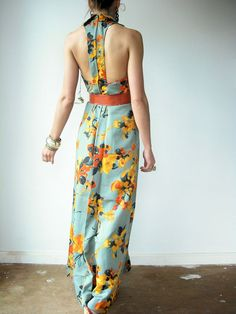 love the back on this vintage maxi dress