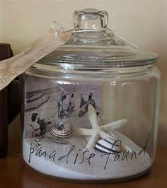 Pam Landolt used a simple glass jar, and added sand, a favorite picture, beautiful shells, a tag with the date and journaling, and Making Memories rub-ons to the exterior of the jar. She created an unbelievably beautiful, lasting memory of a special vacation to display in her home. This idea would work equally well for an anniversary, a new baby and many other possibilities .