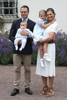 Crown Princess Victoria of Sweden, Prince Oscar of Sweden, Princess Estelle of Sweden and Prince Daniel of Sweden arrive for Birthday celebrations of Crown Princess Victoria of Sweden at Solliden Palace on July 14, 2016 in Oland, Sweden.