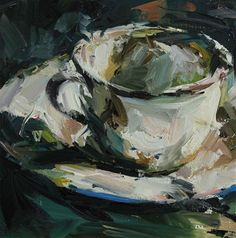 Paul Wright Camping Cup, oil on board 29x29cm.