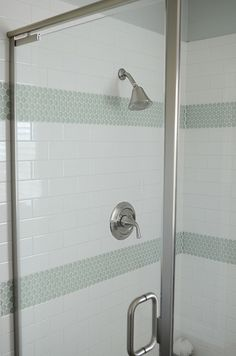 White subway tile in shower with turquoise tile accents. from House of Turquoise: Camille Roskelley (How about the white subway tiles with the rainbow swirl tiles for the borders) Penny Round Tiles, Penny Tile, Subway Tile Showers, Subway Tiles, Master Shower, Master Bathroom, Cozy Bathroom, Bungalow Bathroom, White Bathroom