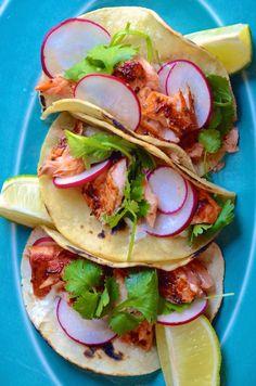 Spicy Chipotle Salmon Tacos from @alejandraramos