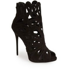 """Giuseppe Zanotti 'Coline' Leather Cage Bootie, 4 3/4"""" heel ($1,295) ❤ liked on Polyvore featuring shoes, boots, ankle booties, heels, sandals, sapatos, ankle boots, black suede, black platform booties and black high heel booties"""