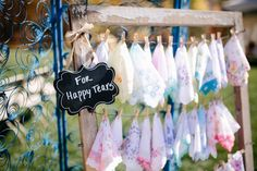 Handkerchiefs for happy tears, wedding favors, The Light + Color Photography