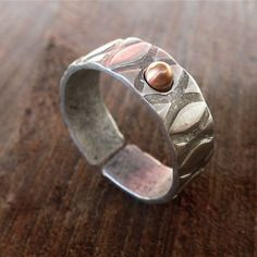 Bague en aluminium et cuivre artisanale pour homme, anneau ouvert